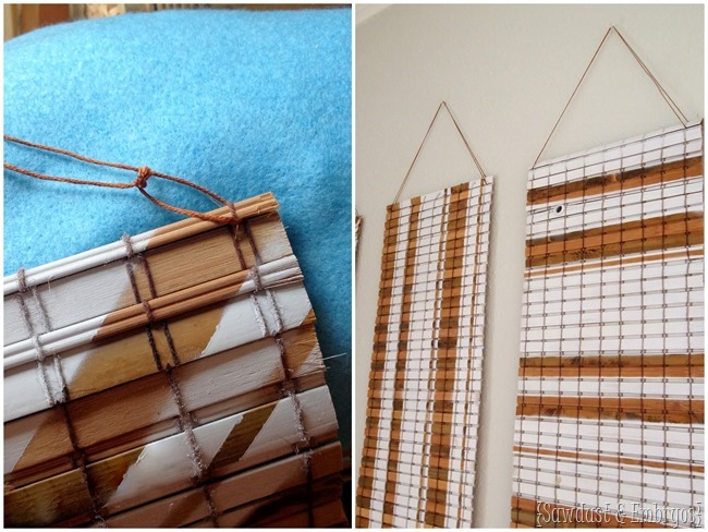 Use cheap bamboo blinds to make unique wall art! {Sawdust and Embryos}