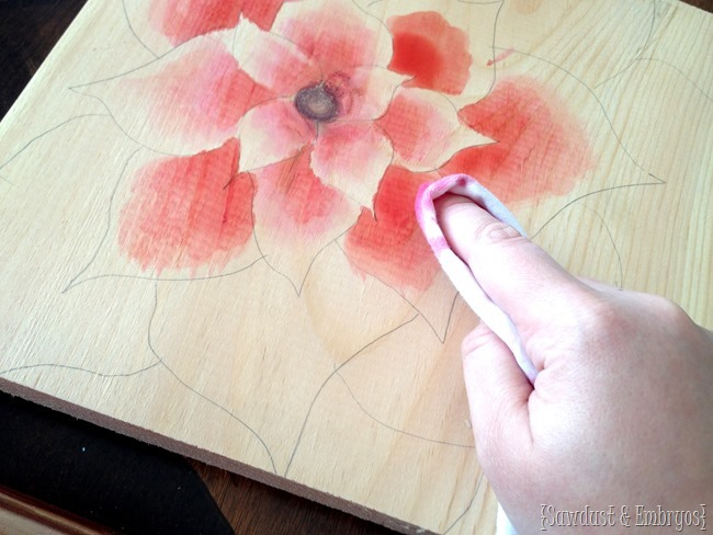 Using raspberry juice as wood stain... creating artwork! {Sawdust and Embryos}