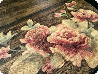 Artwork on furniture using wood stain {Sawdust and Embryos}