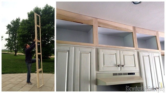 Building additional cabinets to extend up to the ceiling in kitchen.