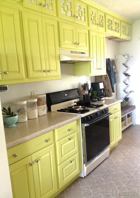 Chartreuse kitchen cabinets! {Sawdust and Embryos}