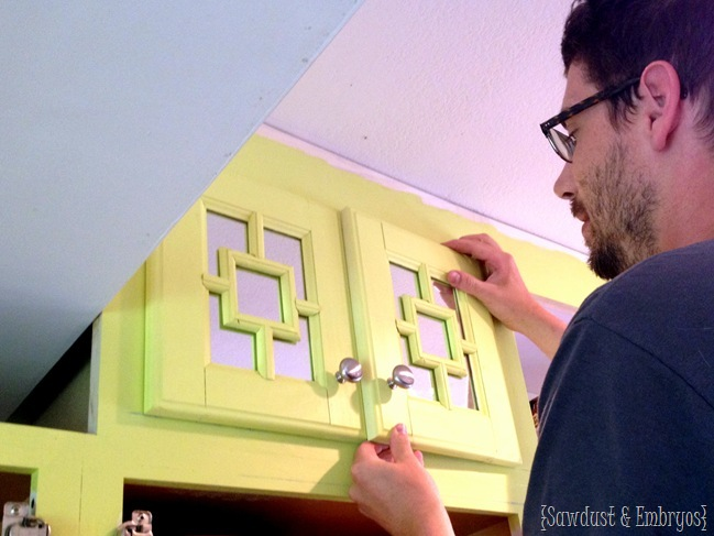 Custom Cabinet doors and 'Lively Yellow' by Sherwin Williams {Sawdust and Embryos}