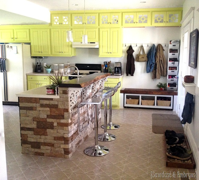 Extend cabinets up to the ceiling and paint a fun color! {Sawdust and Embryos} - Copy