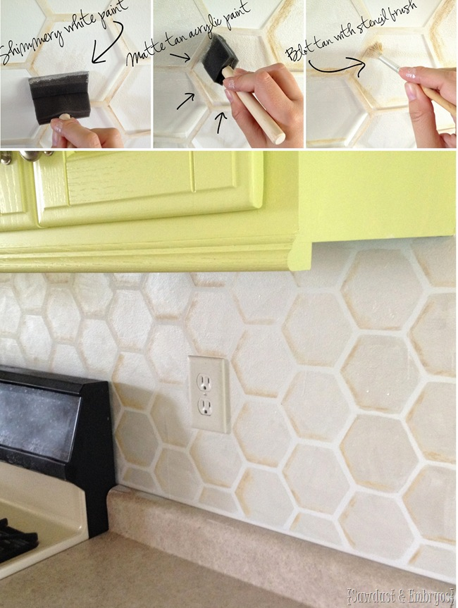 Sponge Painting Kitchen Backsplash