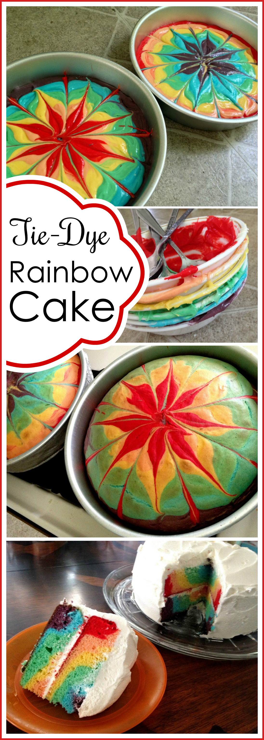 Cool Rainbow Tie Dye Cake Reality Daydream Personalised Birthday Cards Paralily Jamesorg