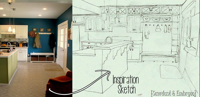 Inspiration sketch for my dream kitchen! {Sawdust and Embryos}
