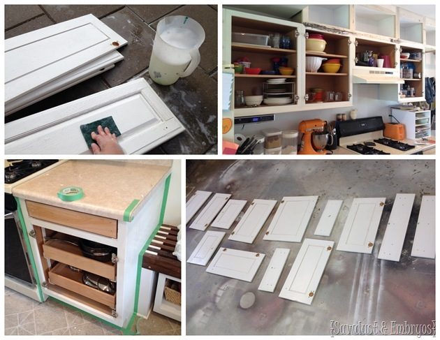 Painting kitchen cabinets {Sawdust and Embryos}