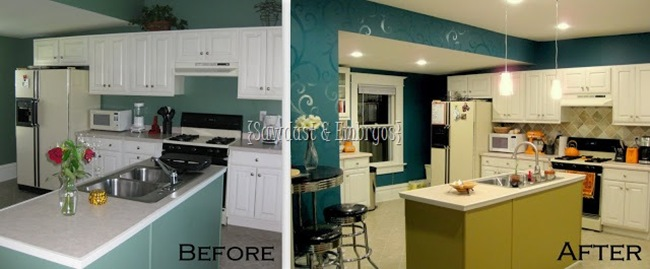Here is our kitchen before and after the last transformation.