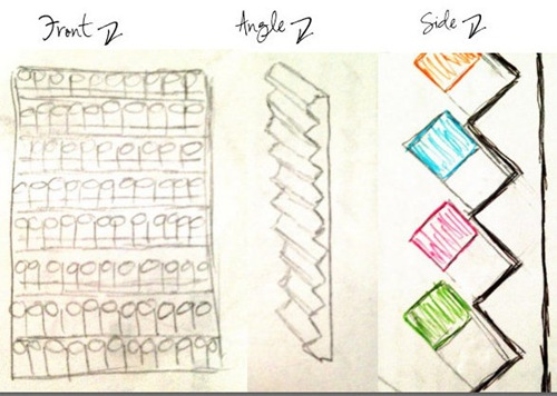 Sketch for building a giant spray paint rack