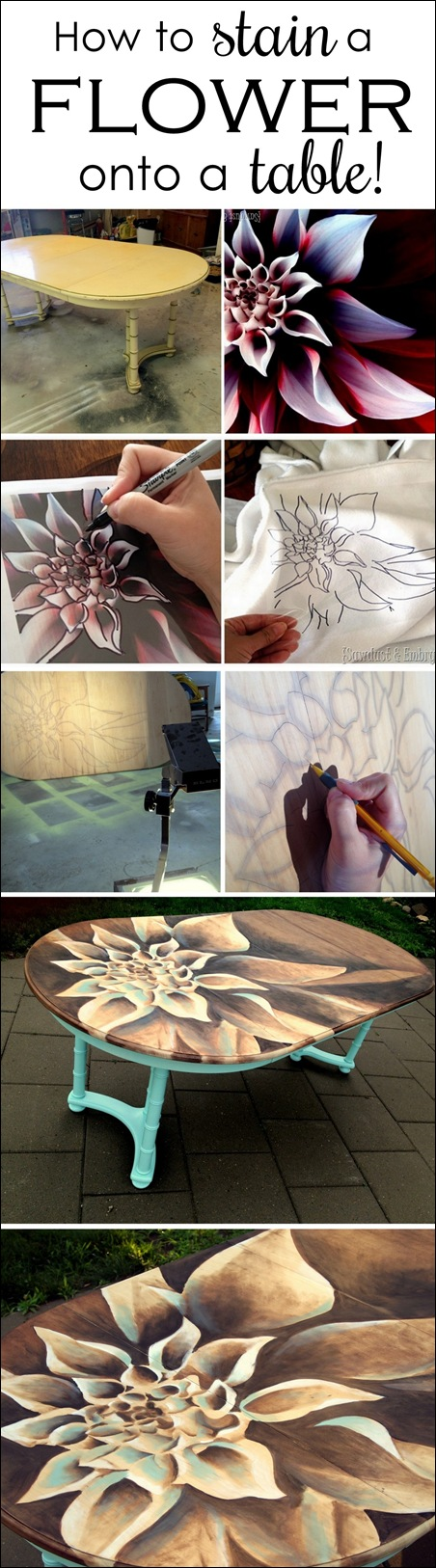 Use WOOD STAIN to create artwork on furniture! Tutorial and time-lapse video! {Sawdust and Embryos}