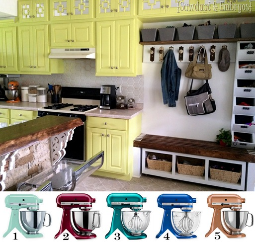 Which Kitchen Aid mixer should I choose to go with my chartreuse cabinets {Sawdust and Embryos}