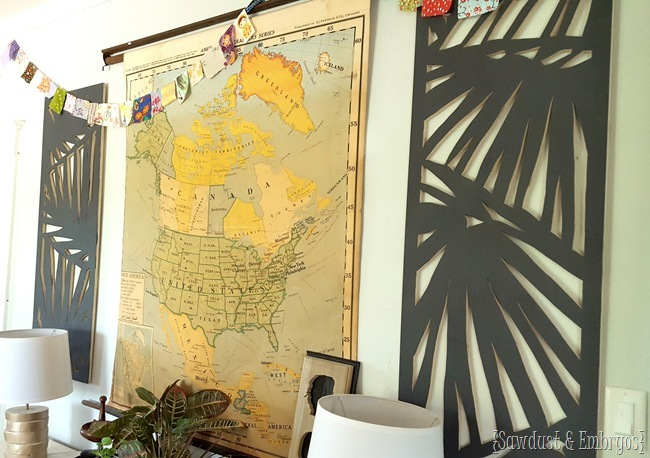 DIY large-scale panel wall art... palm branches cut out with a jigsaw! {Sawdust & Embryos}