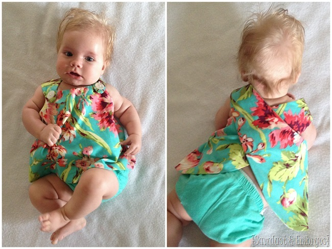 Easy wrap-around pinafore dress or blouse for babies and toddlers! {Sawdust and Embryos}