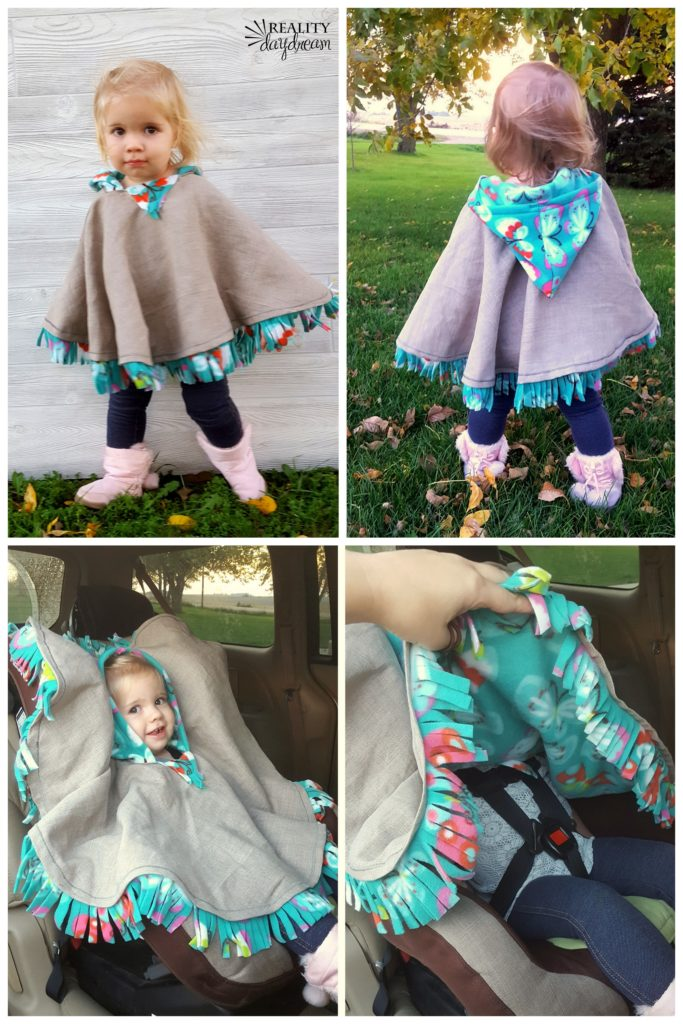 Fleece-lined hooded poncho for toddlers.
