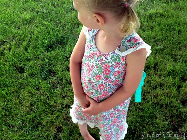 Simple wrap pinafore dress for little girls and toddlers {Sawdust and Embryos}