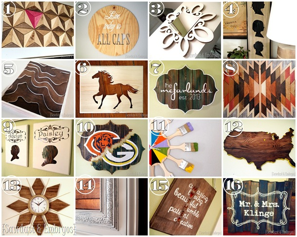 TONS of wall art tutorials by Sawdust and Embryos