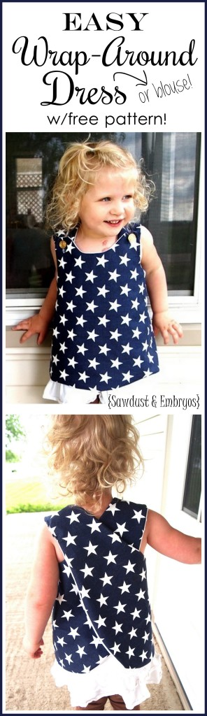 Suuuper simple wrap-around dress tutorial... so cute for toddlers! Includes FREE PATTERN.