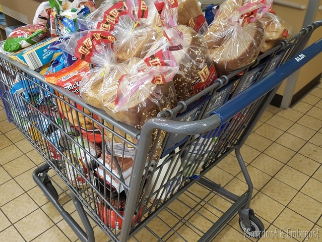 My loaded shopping cart at Aldi.