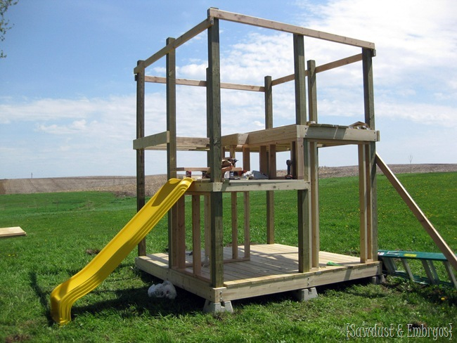 Building a custom playhouse - playground for the littles {Sawdust and Embryos}