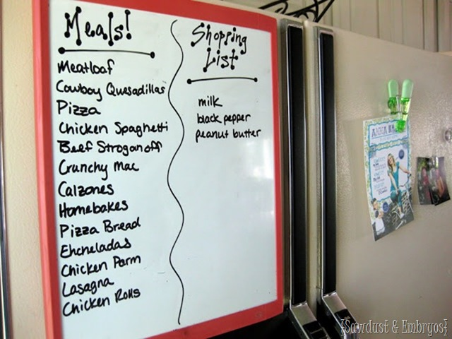 Clever meal planning system for the non-planning-types {Sawdust and Embryos}