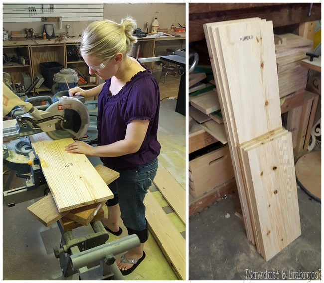 Cutting boards for the base of the ottoman