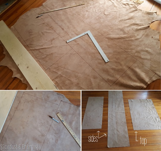 Cutting leather to size to upholster tufted ottoman {Sawdust and Embryos}