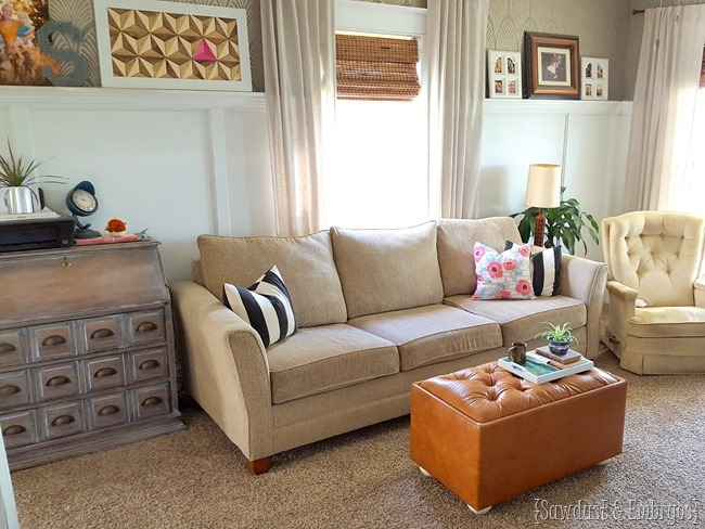DIY Leather Tufted Ottoman TUTORIAL {Sawdust and Embryos}