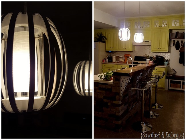 DIY West Elm knock-off Bentwood Pendant lights at night!! {Sawdust and Embryos}