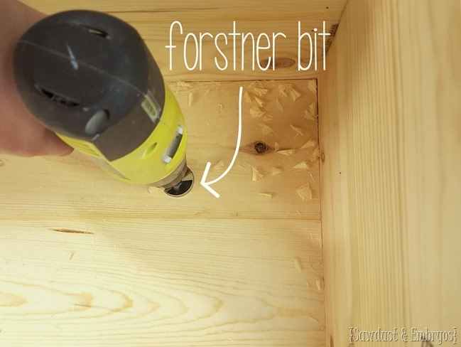 Forstner bit to drill breathing holes in DIY Ottoman {Sawdust and Embryos}
