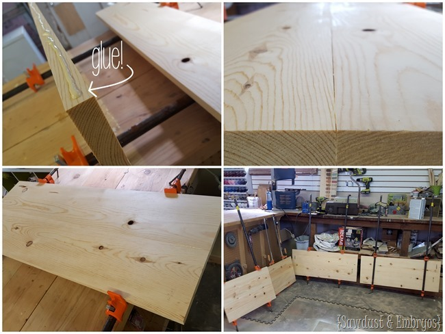 Gluing boards to be the width necessary for the DIY ottoman