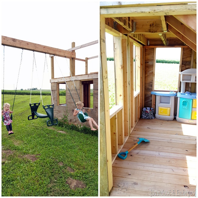 Playhouse with sqwings and fort on top! {Sawdust and Embryos}