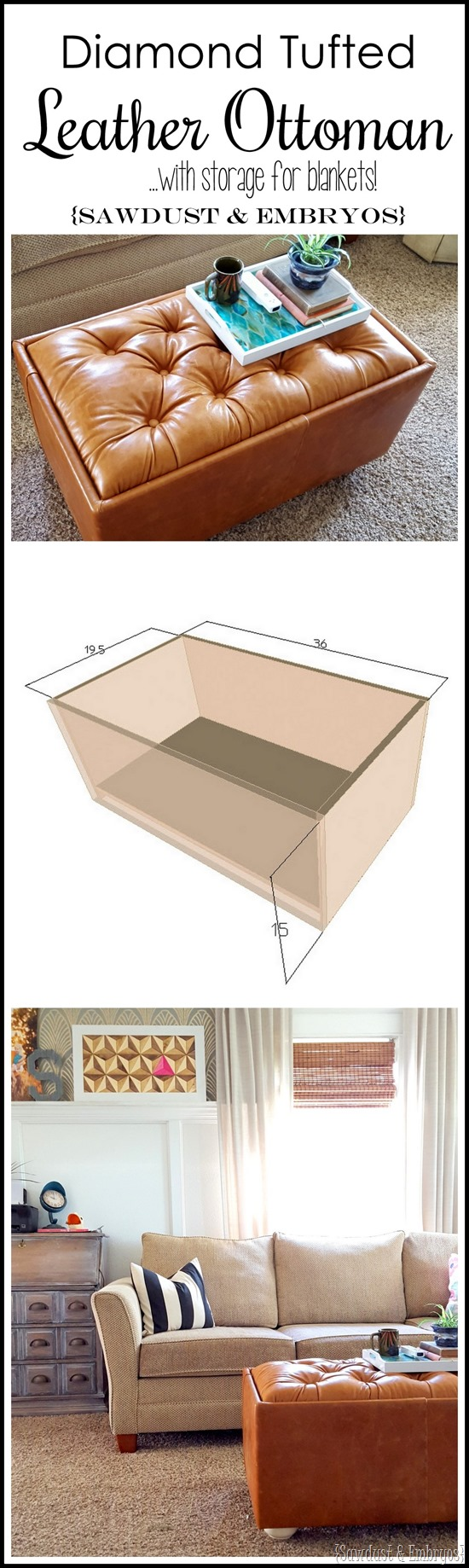 TUTORIAL for making this leather diamond-tufted ottoman... complete with storage inside! {Sawdust and Embryos}