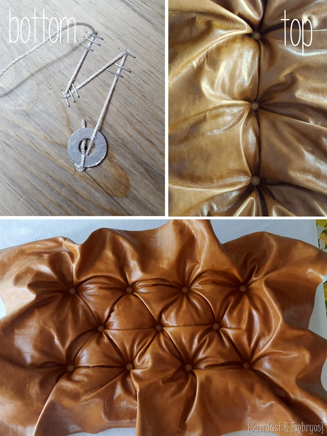 Tips for diamond tufting and upholstering a leather storage ottoman {Sawdust and Embryos