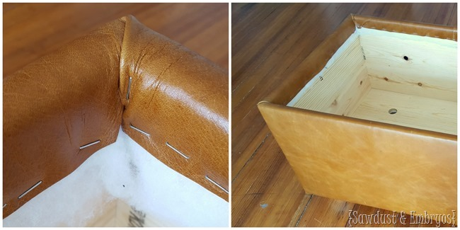 Upholstering a leather ottoman (with storage for blankets!) {Sawdust and Embryos}