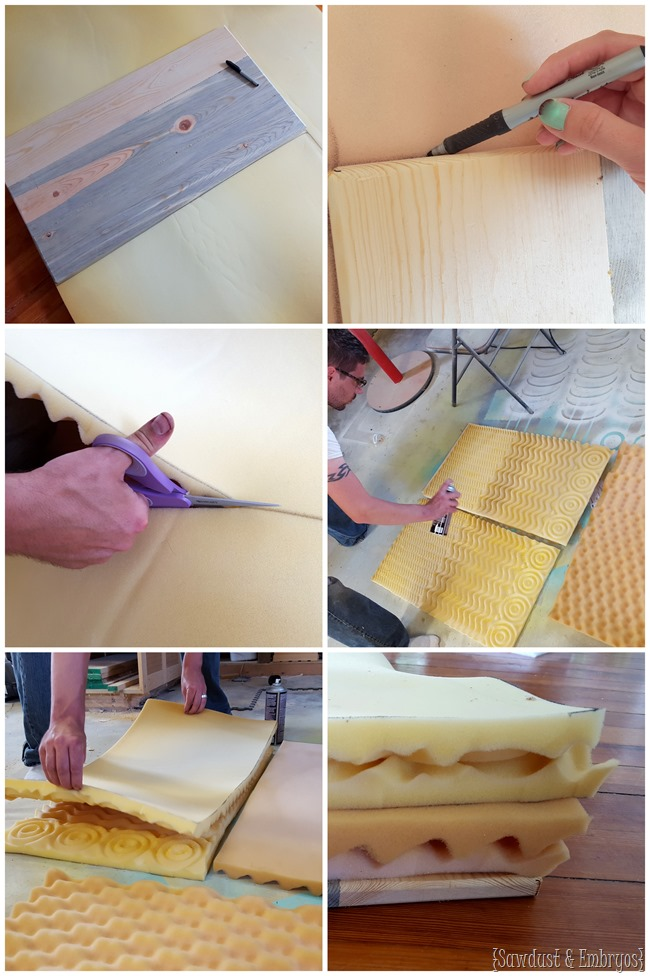 Upholstering a tufted ottoman {Sawdust and Embryos}