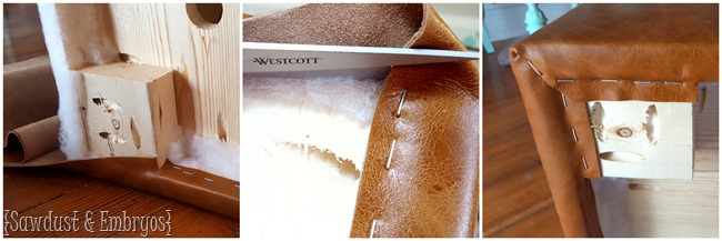 Upholstering an ottoman with leather {Sawdust and Embryos}