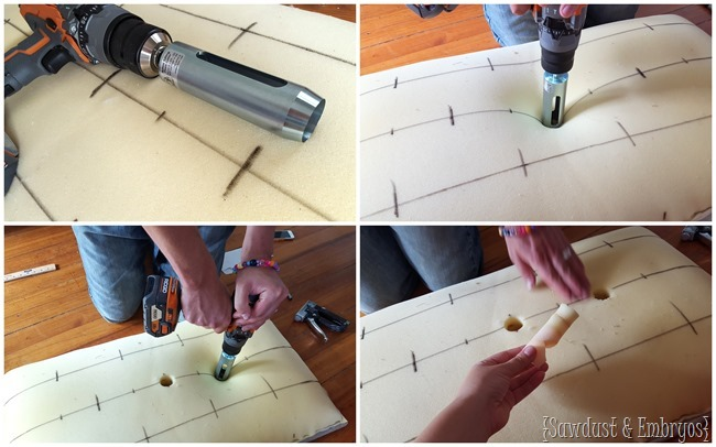 Using a circle foam cutter drill bit to cut holes for diamond tufting {Sawdust and Embryos}