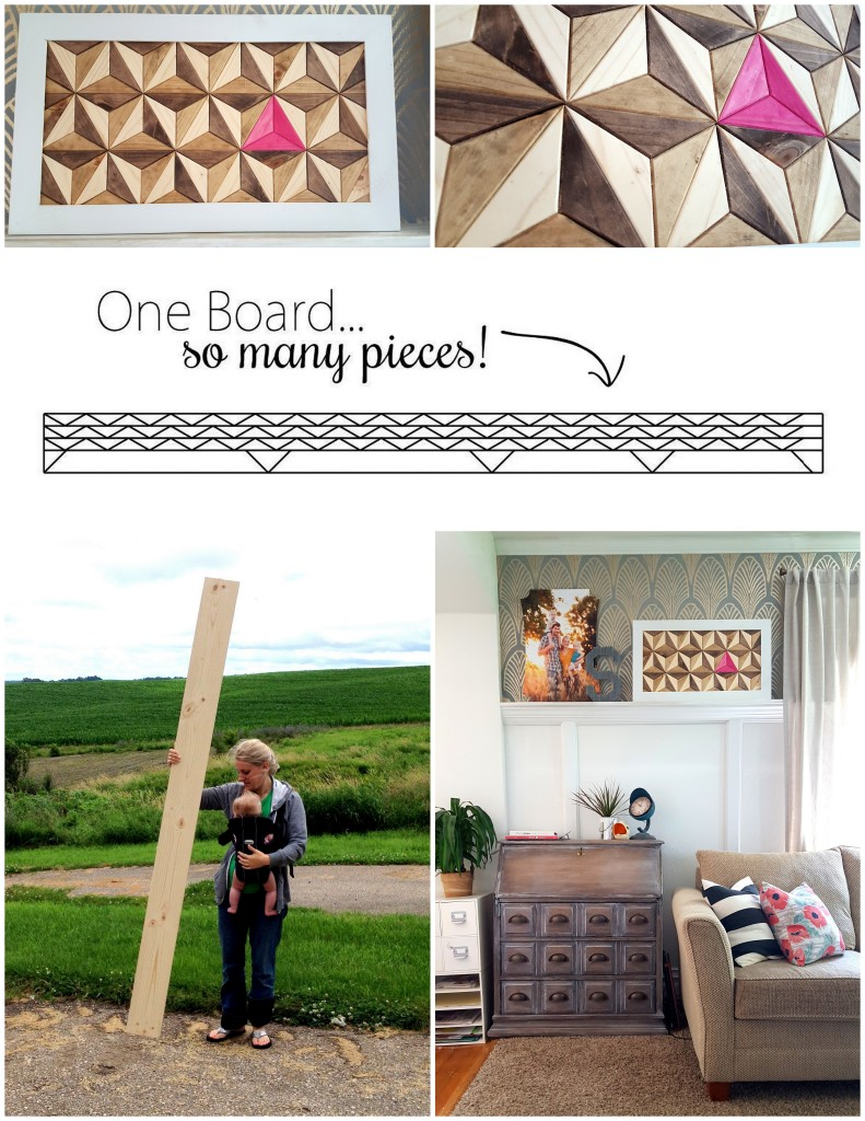 DIY Geometric Artwork... using JUST ONE BOARD! #oneboardchallenge {Sawdust and Embryos}