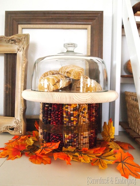 DIY Indian Corn Cake Stand... super easy project for #fall #decor {Sawdust and Embryos}