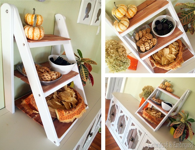 DIY MIni Ladder Shelf for Serving and Entertaining! {Sawdust and Embryos} #fall #decor #thanksgiving #entertaining