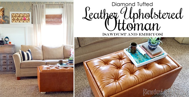 Diamond Tufted Leather Upholstered Ottoman Tutorial {FB}