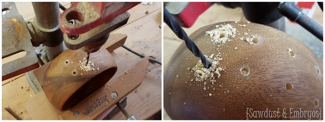 Drill holes in a wooden bowl to weave in some extra 'interest'! {Sawdust and Embryos}