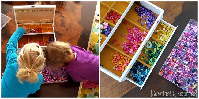 Have your kids sort beads, and give yourself the gift of HOURS of time! {Sawdust and Embryos}