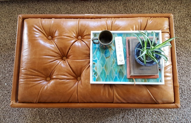 Leather upholstered storage ottoman... with tips for diamond tufting! {Sawdust and Embryos}