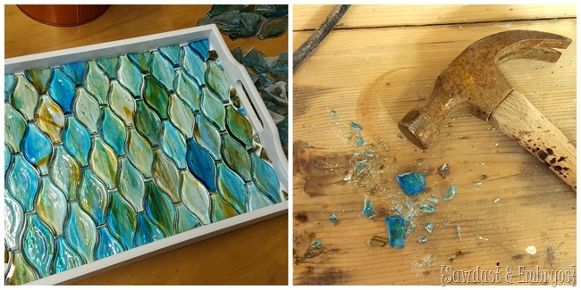 Make an old tray new by painting it white and adding some kind of mosaic with epoxy! {Sawdust and Embryos}