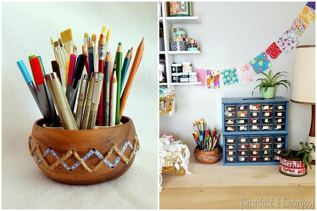 Modify a simple wooden bowl to be super adorable crafting storage! {Sawdust & Embryos} (2)