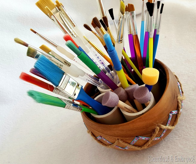 Modify a simple wooden bowl to be super adorable crafting storage! {Sawdust and Embryos}