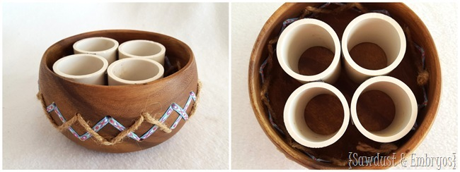 Modify a simple wooden bowl to have some personality... and hold all your paint brushes, colored pencils, and crafting supplies! {Sawdust and Embryos}