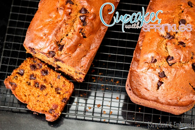 Pumpkin Chocolate Chip Bread {Cupcakes with Sprinkles}