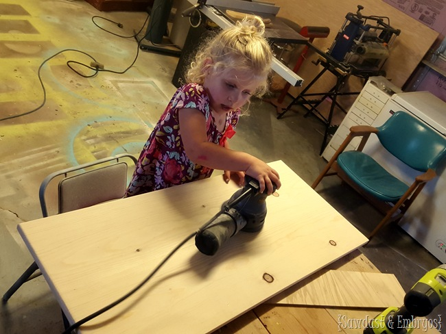 Brought in some extra help- she doesn't realize how bad sanding is yet!
